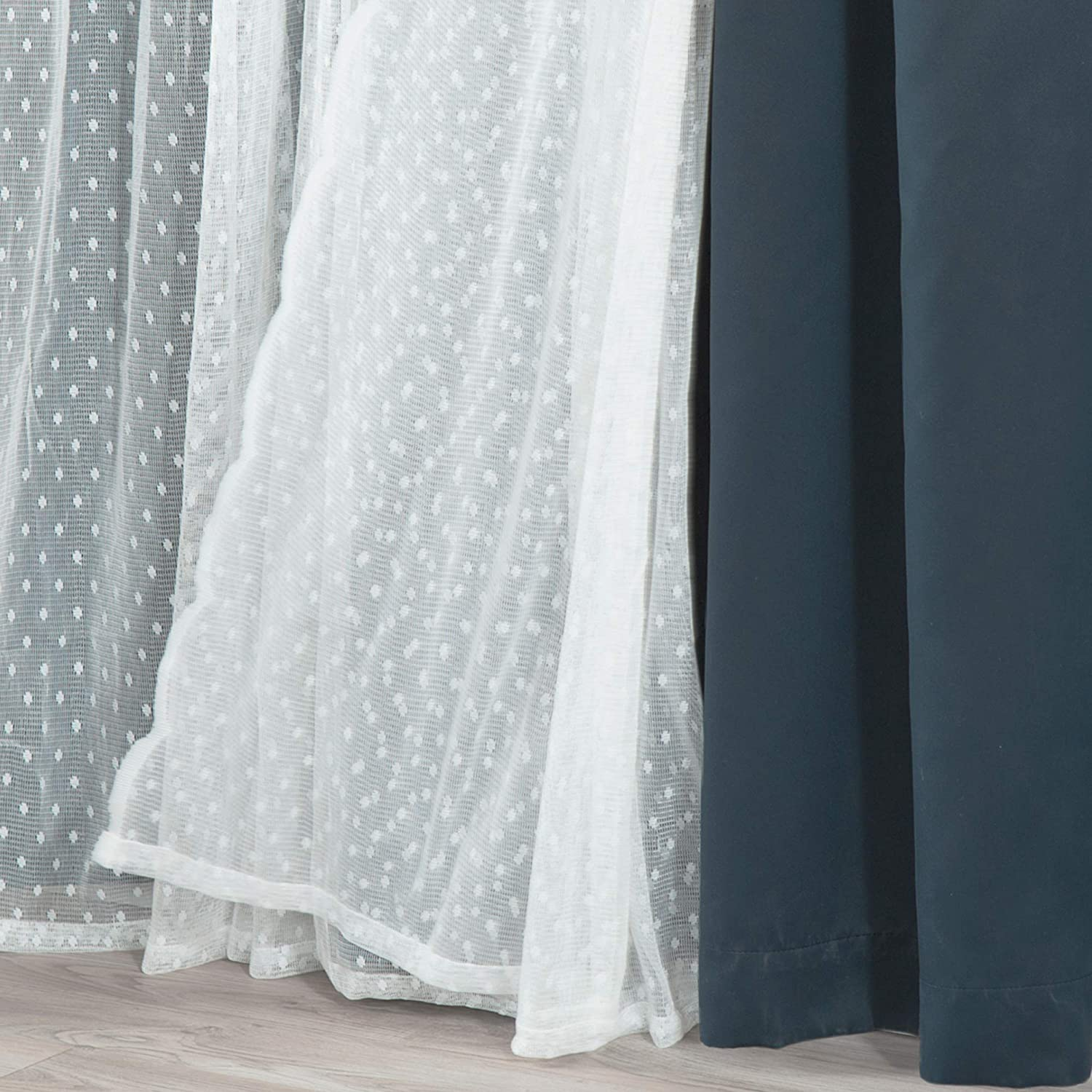 Best Home Fashion Mix and Match Wide Width Dotted Tulle Lace and Blackout 2 Piece (One Blackout, One Tulle) Curtain Set – Antique Bronze Grommet Top (80