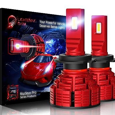 LIGHTENING DARK H7 led headlight bulb, 16000 Lumens Extremely Bright Pro Conversion Kit - 6500K Cool White, Adjustable Beam: Automotive [5Bkhe2000575]