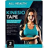 All Health Waterproof Kinesiology Tape, 40 ct, Precut Strips (2 Rolls), Black | Elastic Sports & Weightlifting Tape…