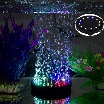 uksunvi 12 RGB LED Fish Tank Iluminación subacuática con Burbujas de Aire subacuáticas Night LED Aquarium Air Stone Disco, Circular Acuario Bubbler con ...