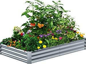 8×4×1FT Galvanized Raised Garden Bed Kit, PETNOZ Easy Quick Setup Raised Garden Boxes Outdoor With Metal Stake To Fix, Optional Size Rustproof Planter Box With No Bottom For Vegetables, Flowers, Herbs