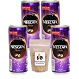 Nescafe Mocha Ready To Drink Chilled Coffee Can (Imported) 240ml, Pack of 4 + Food Library Roasted Salted Peanuts, 200g