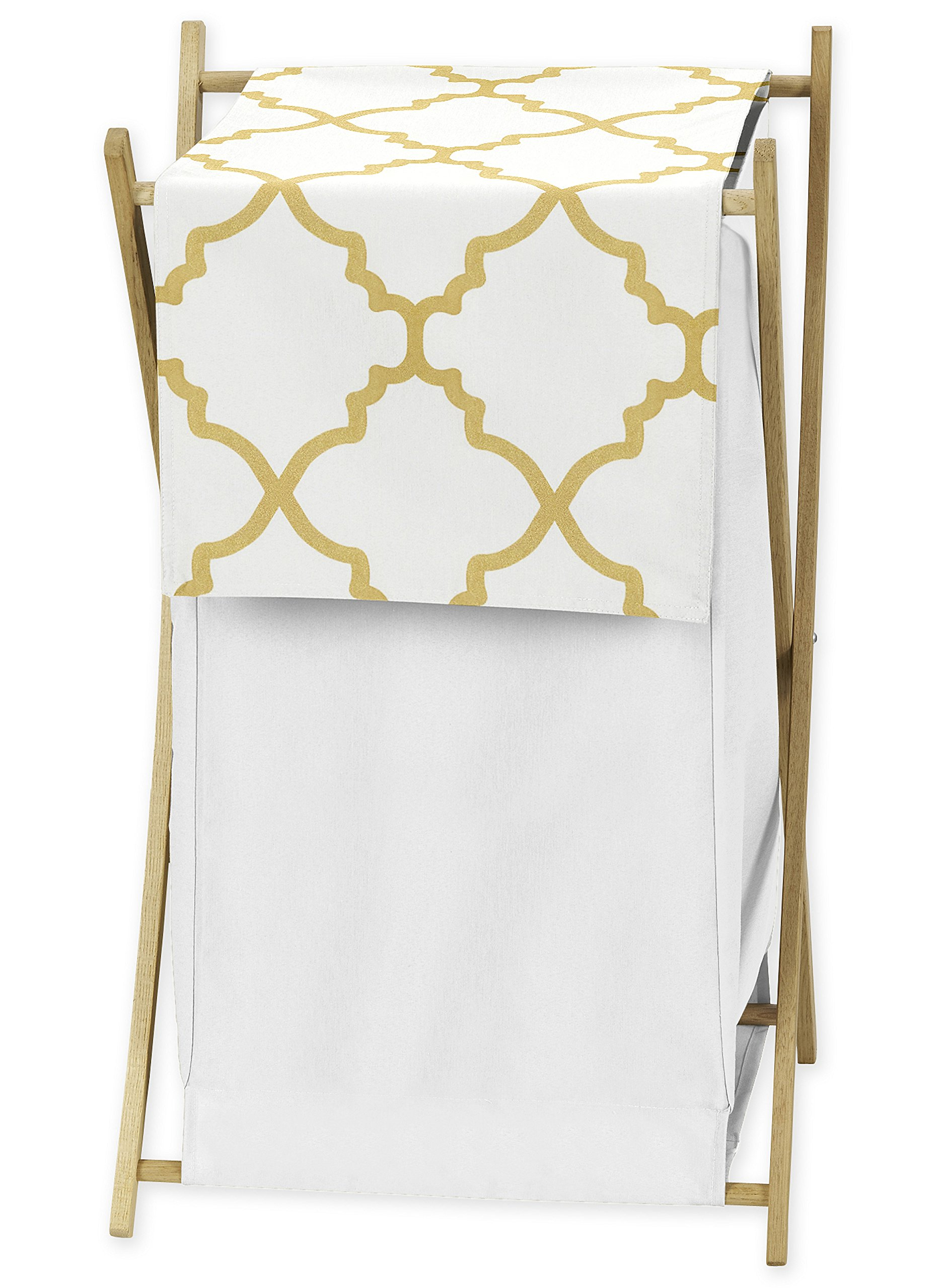 Sweet Jojo Designs Clothes Laundry Hamper for White and Gold Trellis Print Lattice Girls Bedding Collection