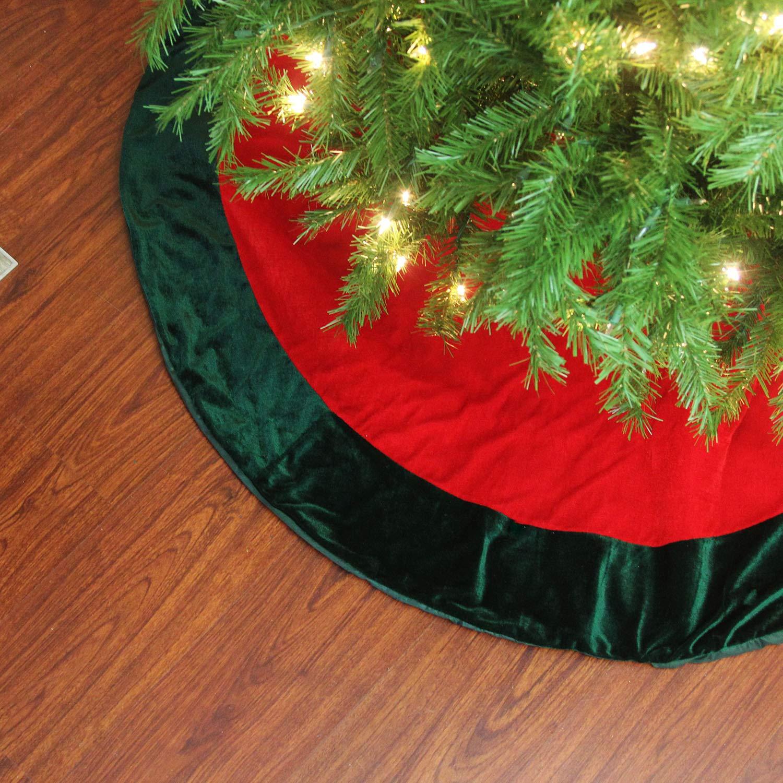 Northlight 11134196 60 Traditional Red and Green Velveteen Christmas Tree Skirt