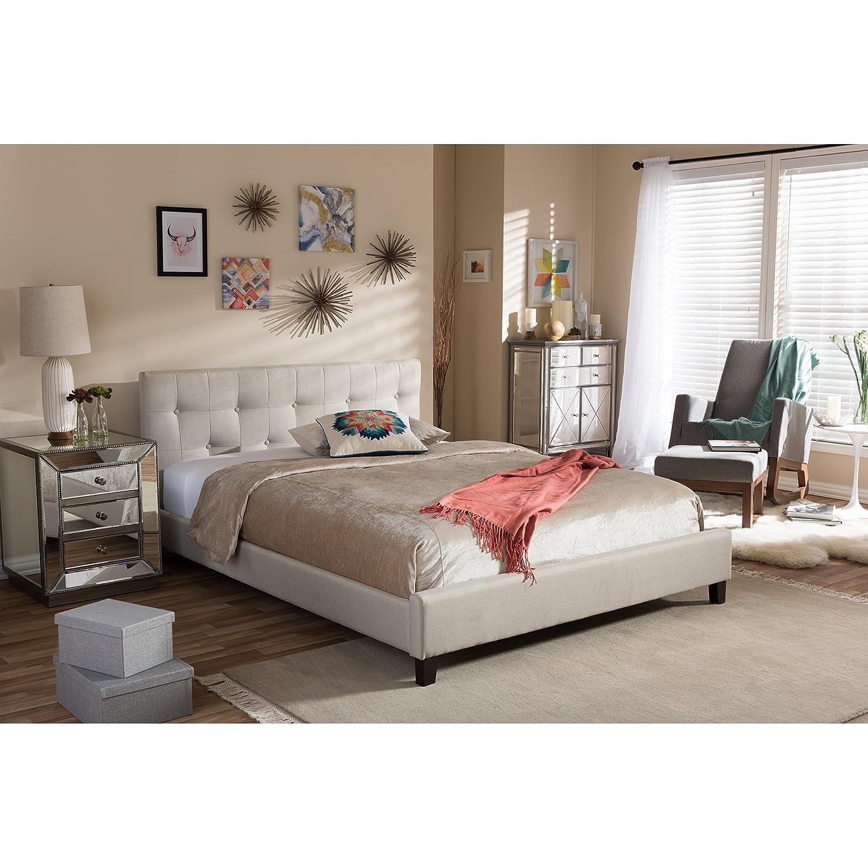Amazon Baxton Studio Annette Linen Modern Bed with