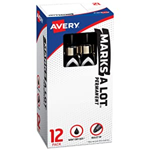 Avery Marks-A-Lot Permanent Markers, Large Desk-Style Size, Bullet Tip, Water and Wear Resistant, 12 Black Markers (24878)
