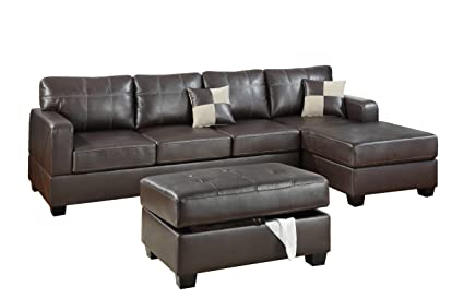 Fabulous Bobkona Wilder 3 Piece Bonded Leather Reversible Sectional Sofa With Matching Ottoman Dark Brown Caraccident5 Cool Chair Designs And Ideas Caraccident5Info