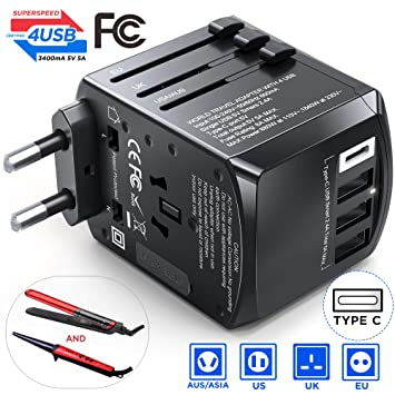 Gimars Travel Adapter, Upgrade True 1840W Stable International European Power Plug Adapter, Worldwide All in One Universal Wall Charger with Type CAGI ...