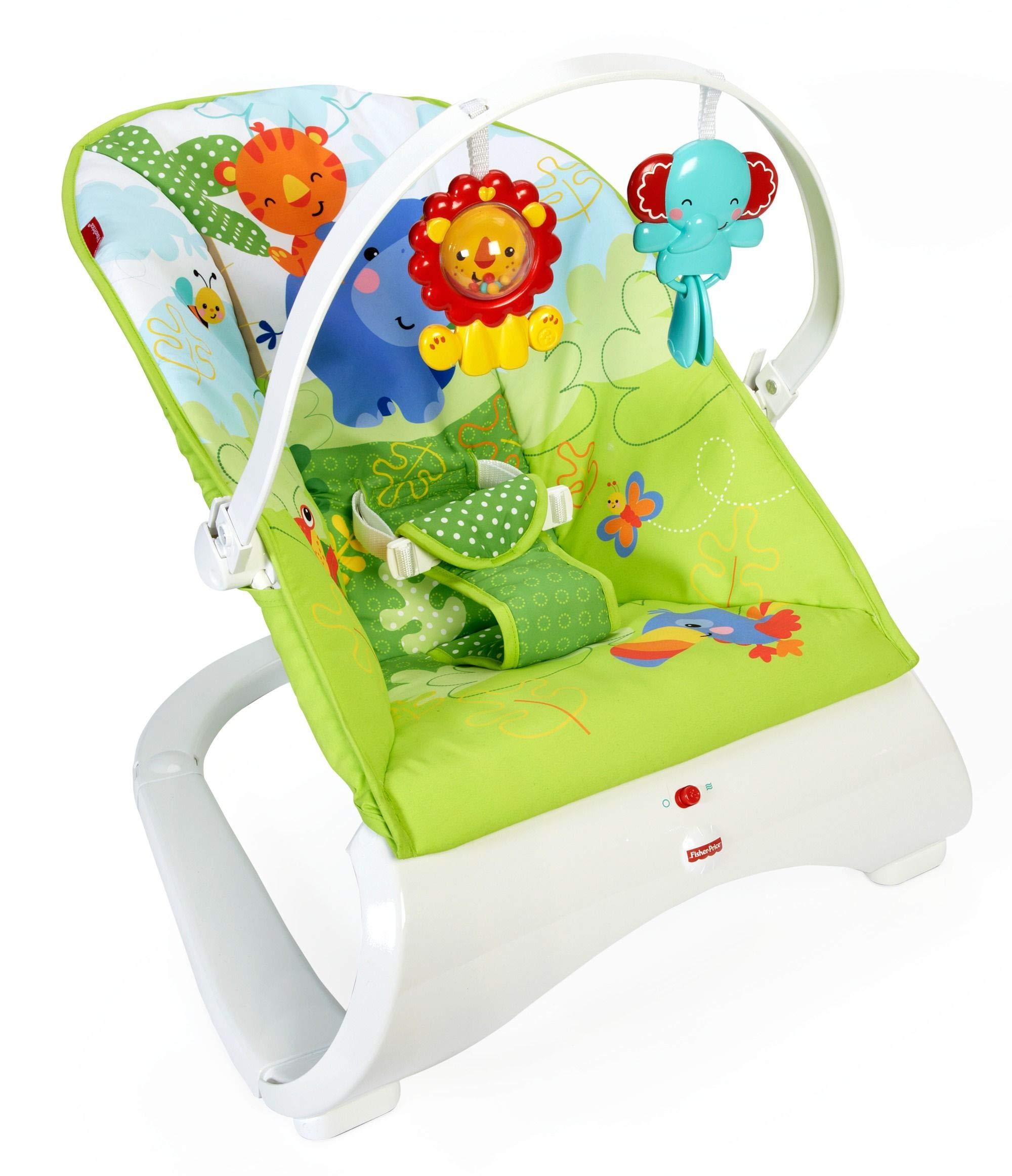 Fisher-Price Hamaca confort y diversión verde, para bebé recién nacido (Mattel CJJ79