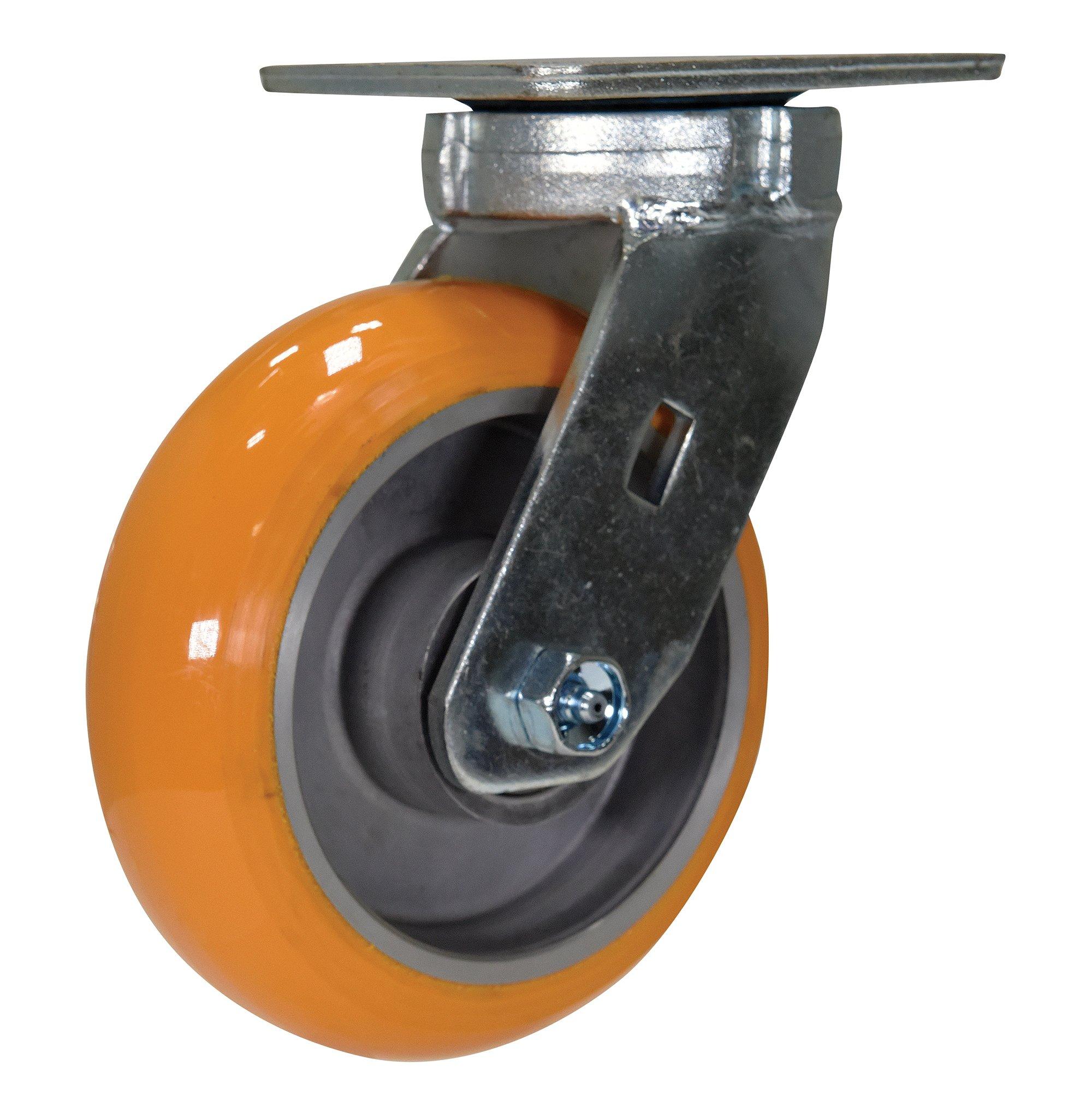 Vestil CST-F40-6X2SI-S 6'' x 2'' Poly/Aluminum Hub Swivel Caster, Orange
