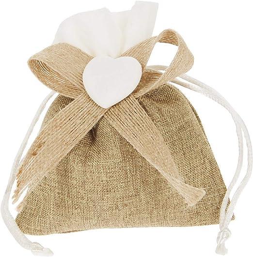 bombonera, hazlo tú Mismo bolsita de Algodón con decoración de Corazón Paquete de 20 Unidades: Amazon.es: Hogar