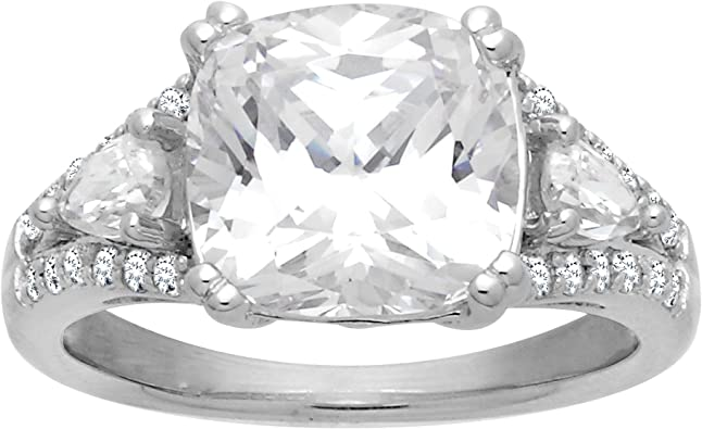 Princess Kylie Clear Cubic Zirconia Antique Reproduction Ring Sterling Silver Size 8