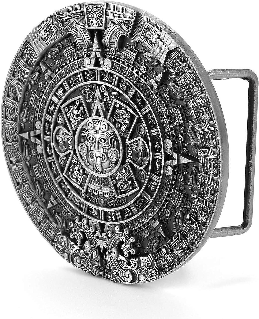 cuadrada dise/ño retro azteca maya con calendario solar Faletony Hebilla para cintur/ón de aleaci/ón de metal