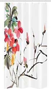 Ambesonne Japanese Stall Shower Curtain, Popular Early Period Watercolors Print with Vivid Floral Motifs Art Picture, Fabric Bathroom Decor Set with Hooks, 36