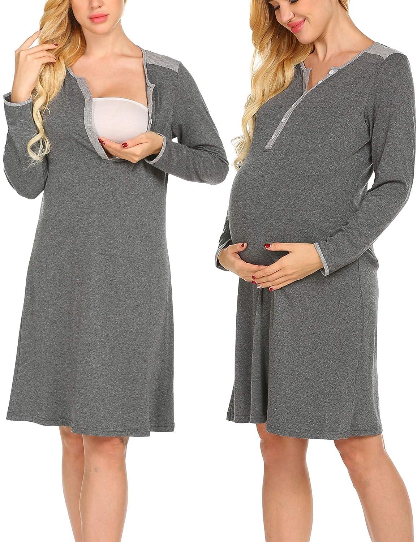 UNibelle Camicia da Notte Allattamento Donna Vestito da maternità Abito di maternità Abito Premaman maternità a Maniche Lunghe Elegante S-XXL *COK009754