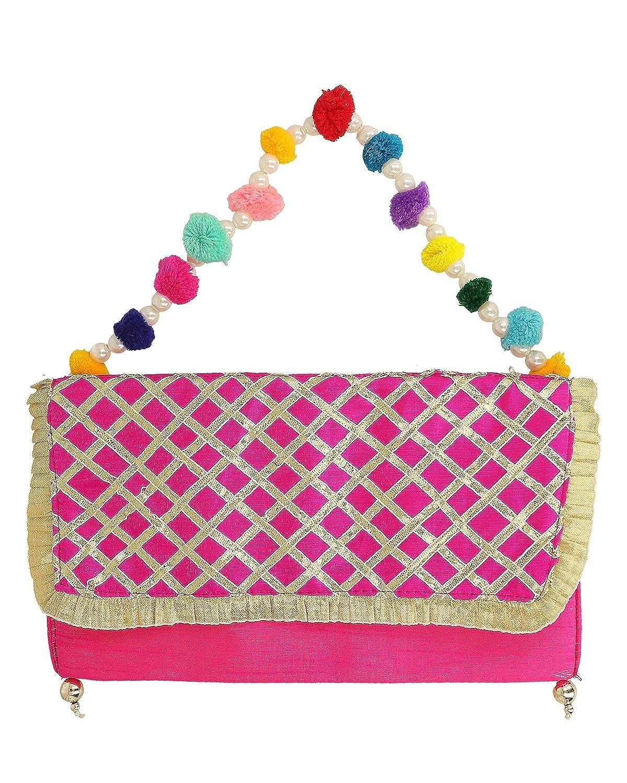83c9647b3f Splendid India Stunning Criss Cross Gota Work Designer Clutch Purse for  Women  Handbags  Amazon.com