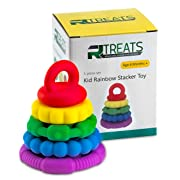 5 PC Rainbow Stacker Toy Teether Sensory Silicone rings for baby and children of all ages