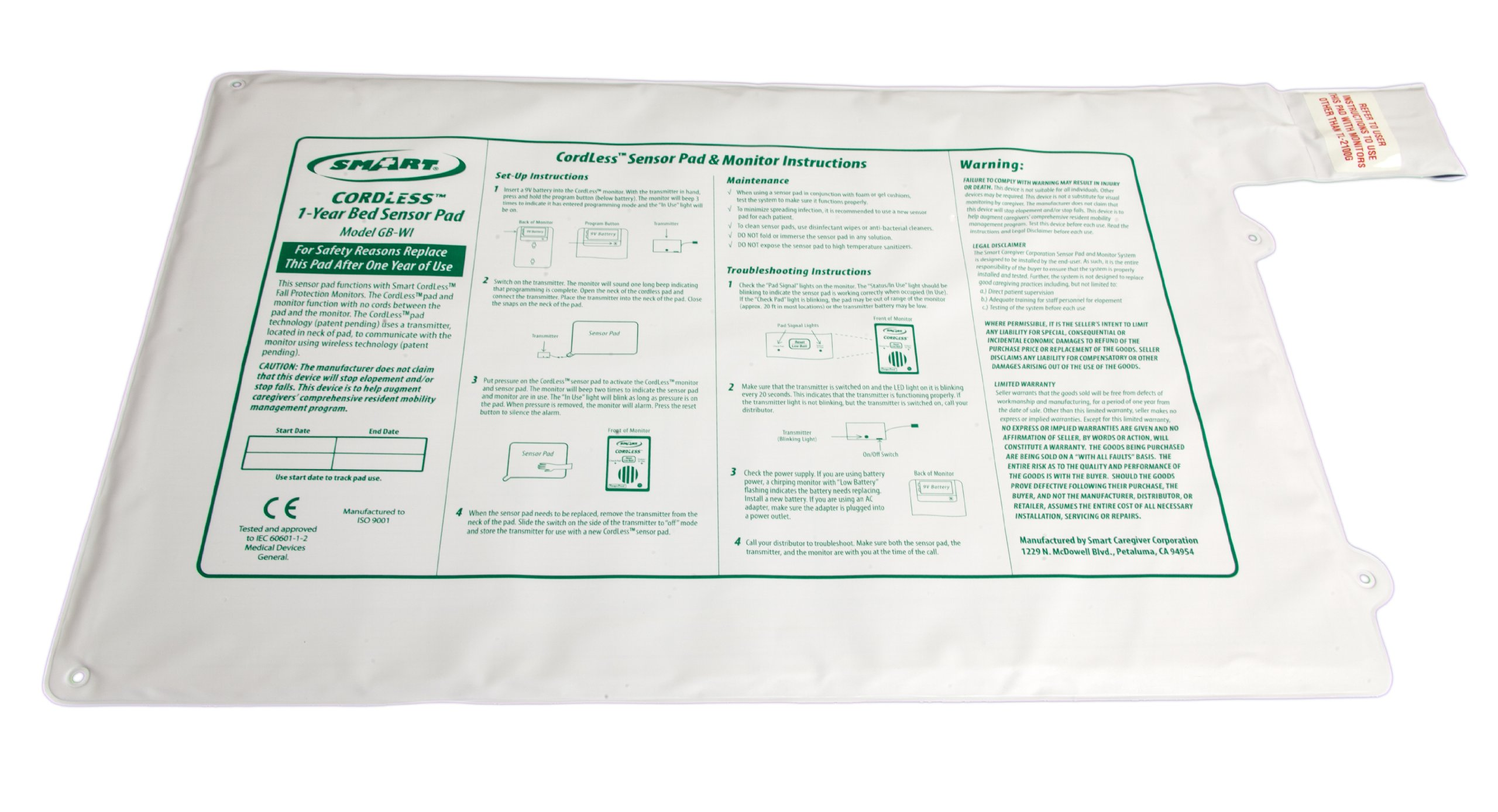 Smart Caregiver Wireless Bed Alarm Alert - 20 by 30 Inch Pad by Smart Caregiver