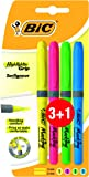 BIC Highlighter Grip - Blíster de 3+1 marcadores fluorescentes, colores amarilla, azul, verde y rosa