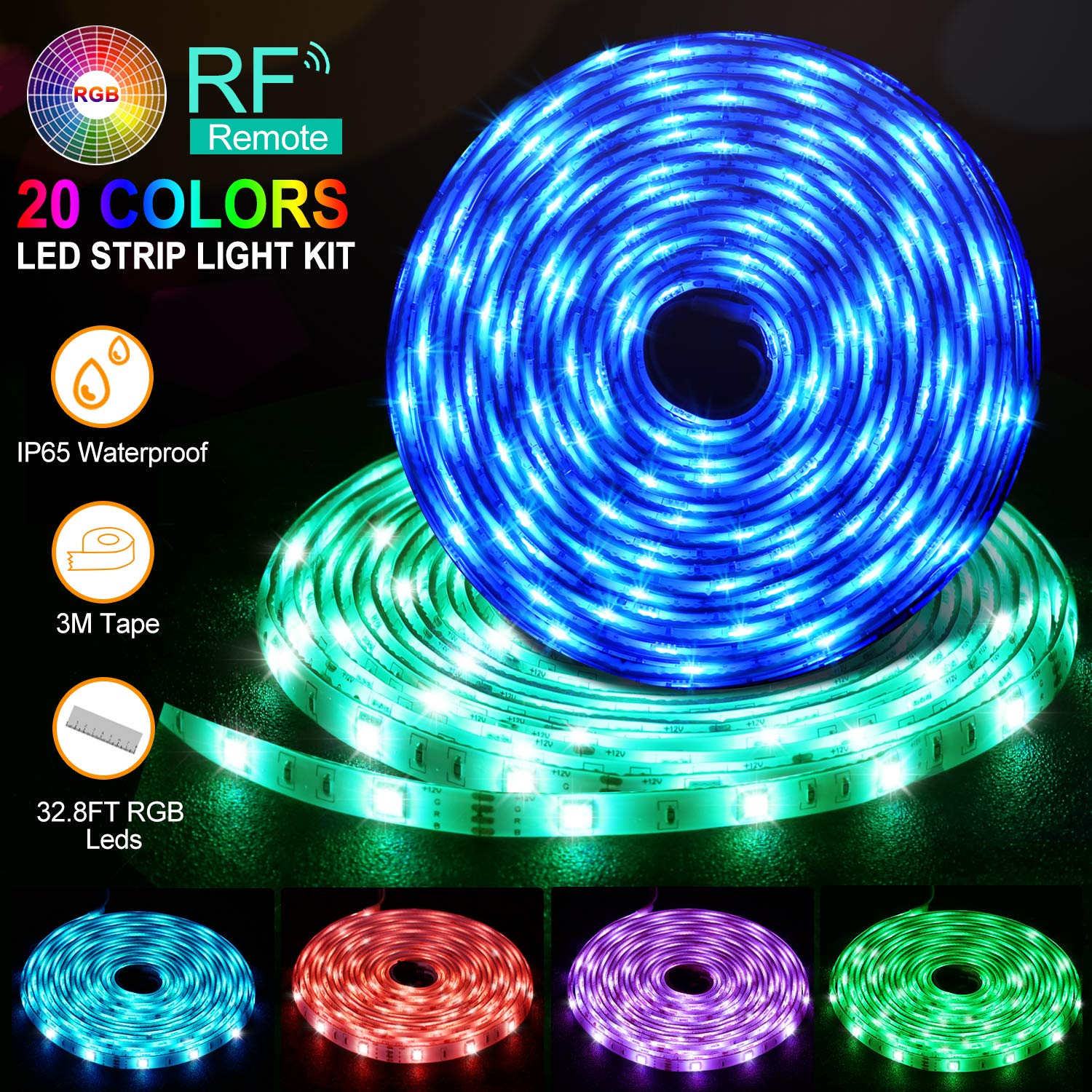 LED Strip Lights, Flykul LED Light Strip 32.8Ft/10M Waterproof RGB SMD 5050 300LEDs Rope Lighting Color Changing Full Kit with 44 Keys RF Remote Controller and DC 12V 5A Power Adapter by Flykul (Image #1)