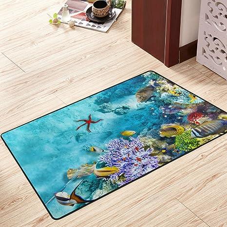 Floor Carpet Undersea World Dolphin Coral Fishes Area Rug Kids Play Rug Door Mat