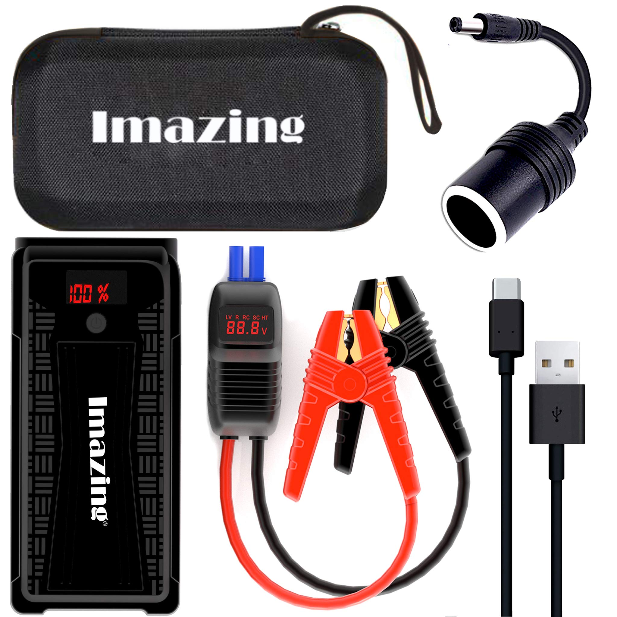 Imazing Portable Car Jump Starter - 2500A Peak 20000mAH (Up to 8L Gas or 8L Diesel Engine) 12V Auto Battery Booster Portable Power Pack with LCD Display Jumper Cables, QC 3.0 and LED Light by Imazing (Image #7)