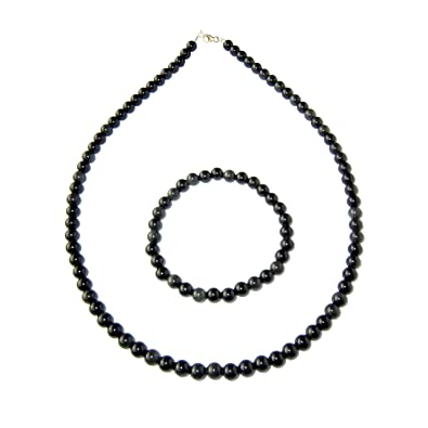 France Minéraux Black Obsidian Necklace 39cm - Round Beads 6mm - Silver Clasp BqOS5CT
