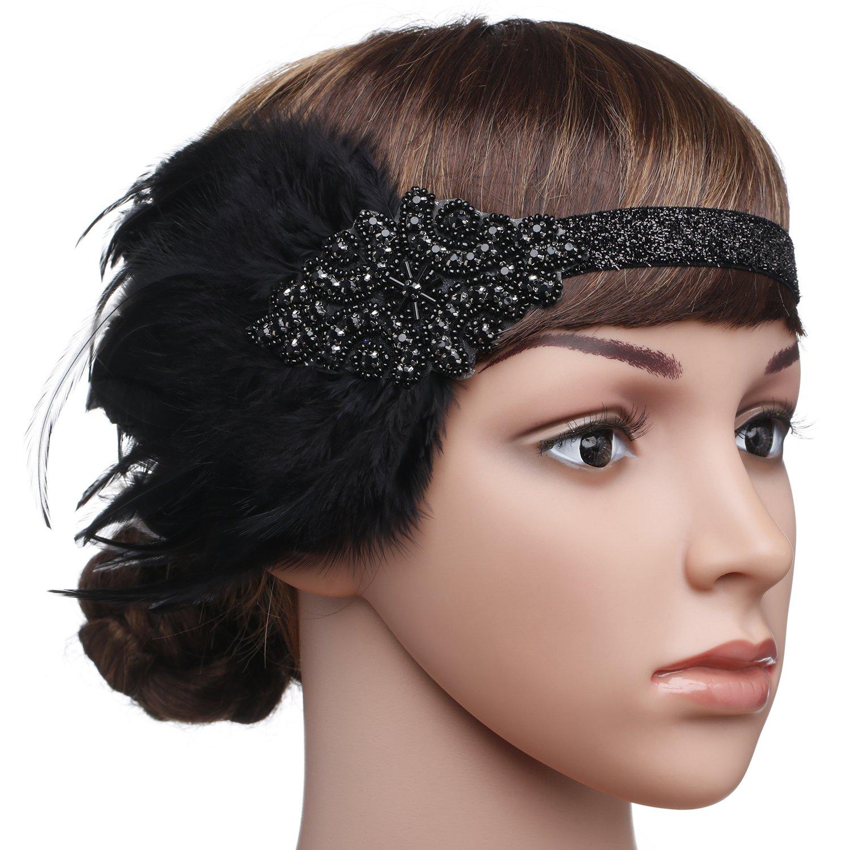 Amazon.com   Conpart 1920s Flapper Feather Headpiece Vintage 1920s Headband  Beaded Flapper Headpiece Great Gatsby Costume Accessories   Beauty 4d4cf9491d8