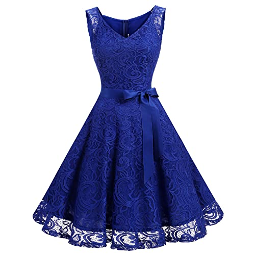 Dressystar Women Floral Lace Bridesmaid Party Dress Short Prom Dress V Neck