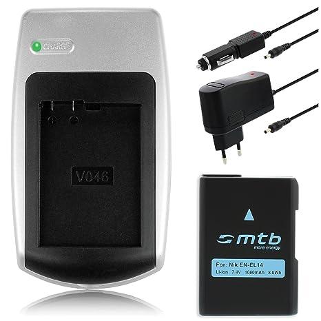 Batería + Cargador EN-EL14 para Nikon D3100, D3200, D5100, D5200