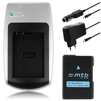 Cargador + batería EN-EL14 para Nikon D3100, D3200, D5100, D5200