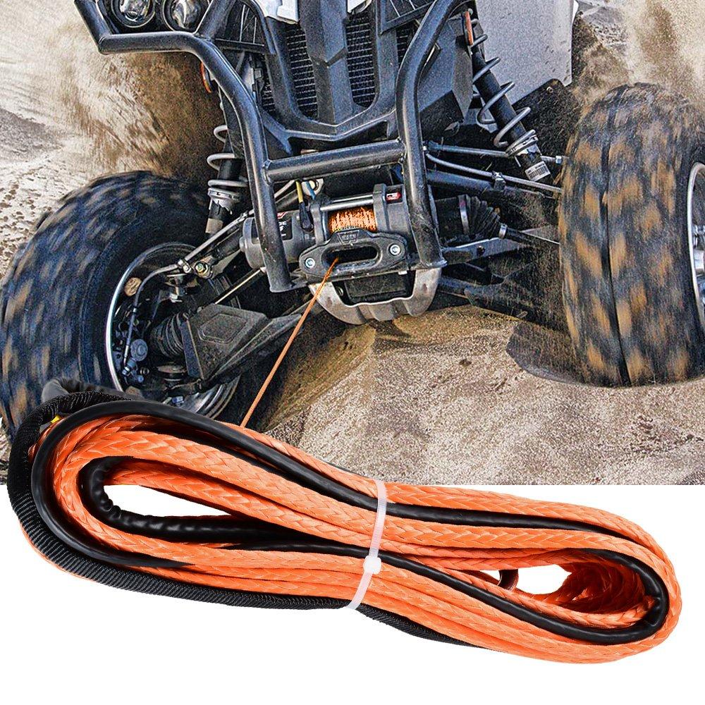 Rubber Stopper 6 Bolt Black Hawse Fairlead Car ATV UTV Ramsey KFI Astra Depot 50 x 1//4 Synthetic Winch Rope 6400LBs Protective Sleeve 40 Heat Guard