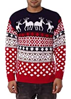 Mens Unisex 70's Jumpers Sweater Retro Christmas Knitwear Top (M, Classic Bits Navy)