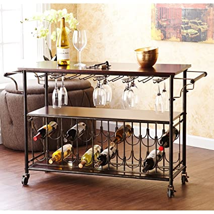 Amazoncom Wine Bar Cart Serving Table Espresso Black Home