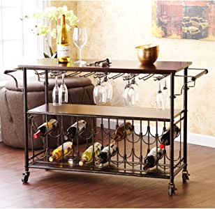 Wine Bar Cart Serving Table Espresso & Black. Home Tuscany Rolling Rack Makes An Elegant Kitchen Island or Dining Room Furniture Piece Guaranteed. Party Perfect With It's Sturdy Iron Metal & Wood, Locking Casters, Shelves, & Has Room For 18 Bottles.
