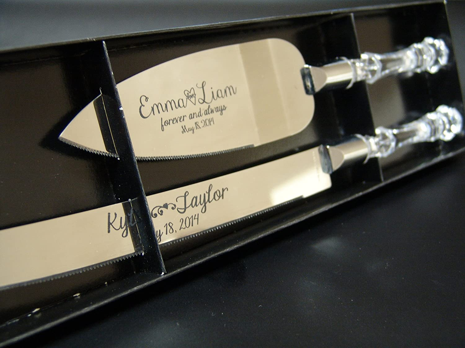 Amazon.com | Personalized Wedding Cake Knife And Server Set With Faux  Crystal Handles (stainless Steel Silver In Color): Serving Sets