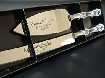Personalized Wedding Cake Knife And Server Set With Faux Crystal Handles Stainless Steel Silver In