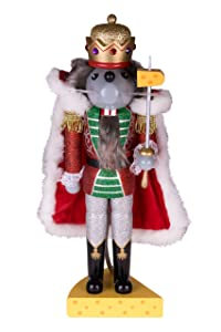 """Clever Creations Traditional Wooden Mouse King Nutcracker Sword and Cheese Stand 