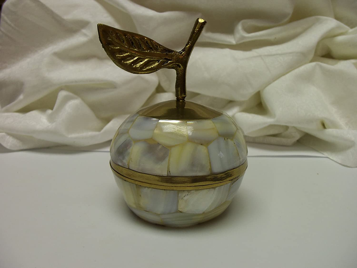 Vintage and Unique Brass & Mother of Pearl Apple Trinket or Jewelry Box with Screw Lid (Made in India)
