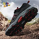 Hawkwell Kids Outdoor Hiking Shoes,Black Red Mesh,3