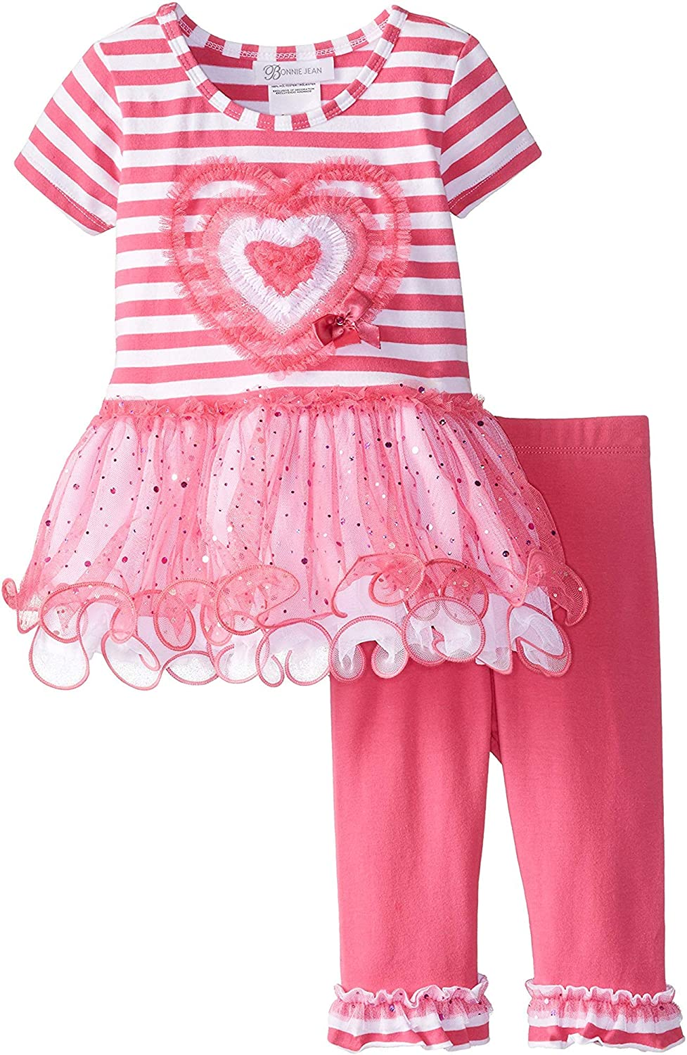Bonnie Jean Baby Toddler and Little Girls Valentines Day Pink and Red Heart Tunic Shirt and Leggings Set