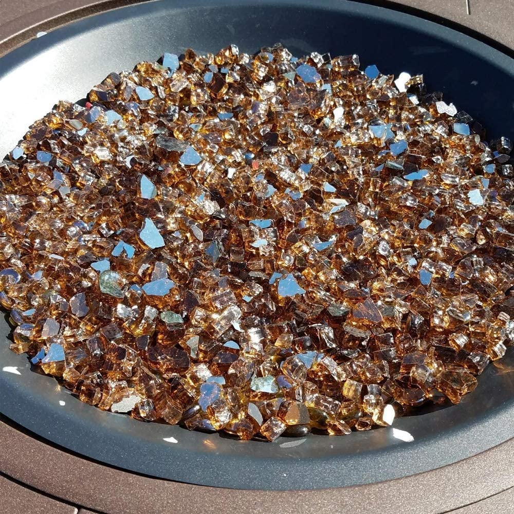 GASPRO 30 LB Fire Glass High Luster 1//2inch Reflective Tempered Fire Glass in Cosmic Copper for Propane or Natural Gas Fire Pit or Fireplace