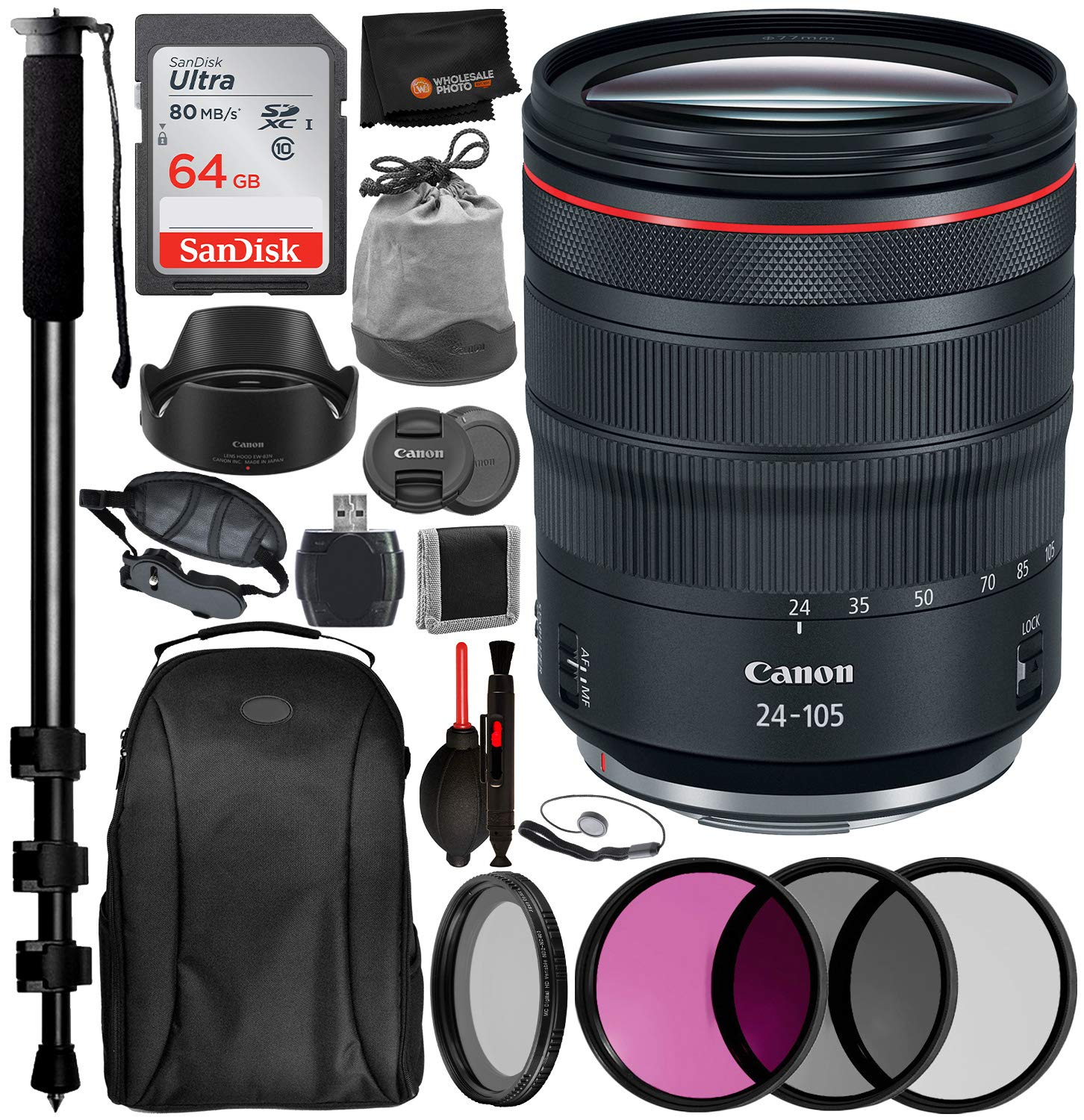 Canon RF 24-105mm f/4L is USM Lens 2963C002 USA Professional Bundle Package Deal Kit - San Disk 64gb SD Card + 77MM - 3pc Filter Kit (UV, CPL, FLD) + 77mm - Variable ND Filter + 72'' Monopod + More by Canon