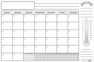 Dry Erase Wall Calendar Monthly Planner 16 x 24 inch with Goal Chart & Daily Habit Tracker Laminated Erasable Undated Task Organizer for Whiteboard Home Office Classroom Board Room