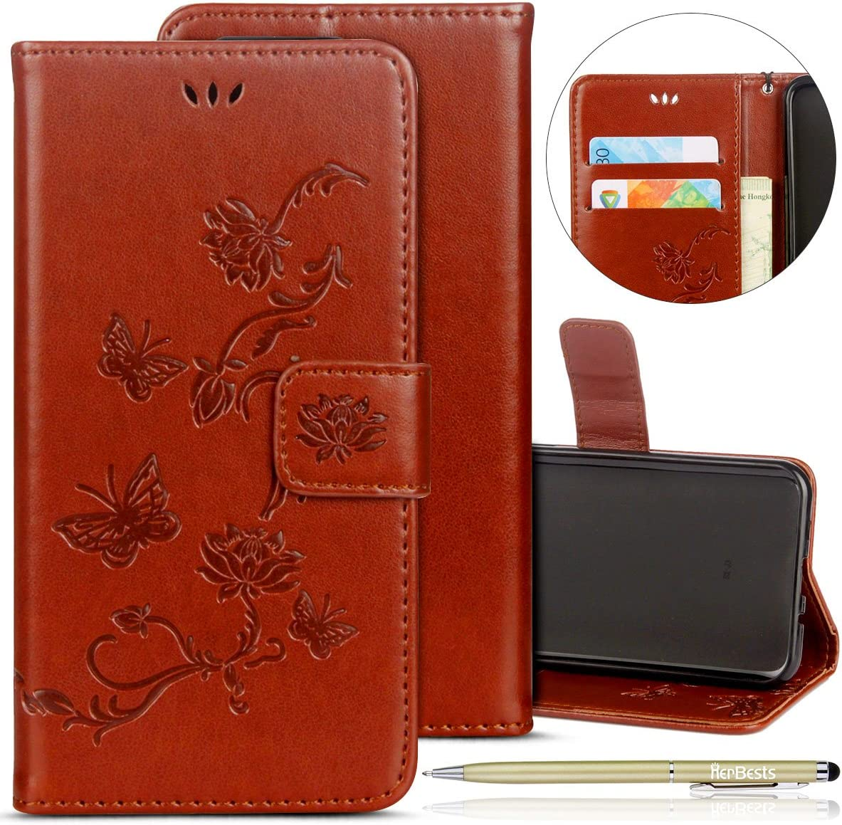 Herbests Compatible with Huawei P10 Wallet Case Embossed Lotus Flower Butterfly Pattern Leather Flip Stand Magnet Wallet Case Shockproof Soft TPU Bumper with Card Slots,Purple