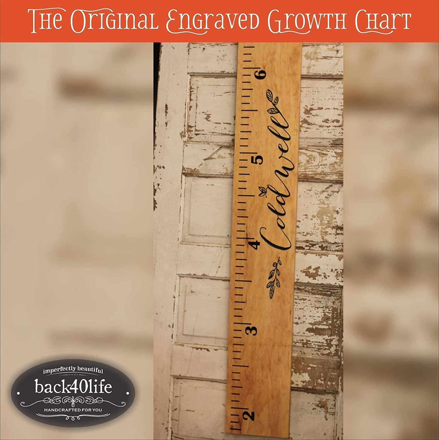 Engraved wooden ruler growth height chart (The Coldwell) - premium engraved lettering with name and leaf flourish (GC-Cold)
