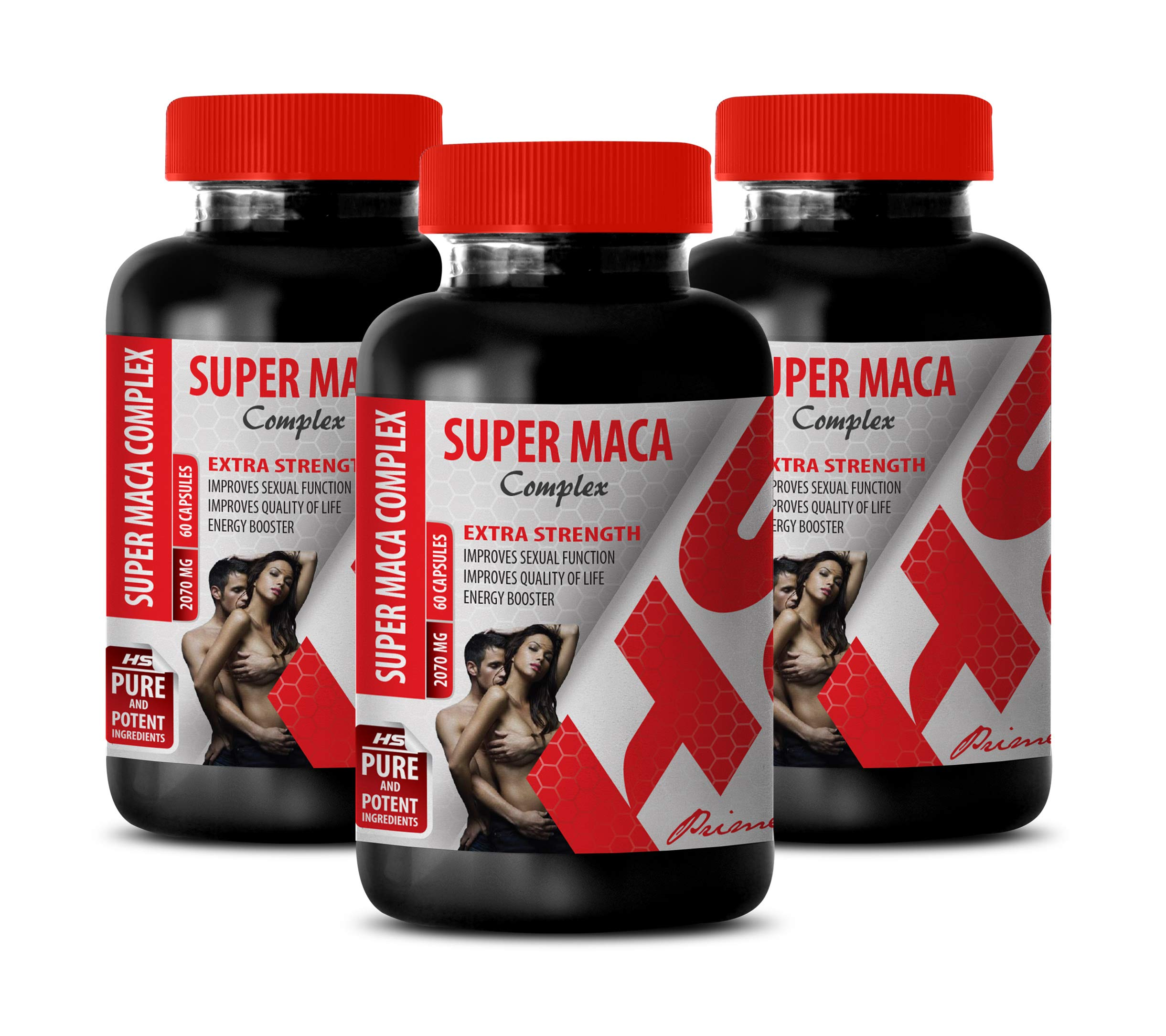 Testosterone Enhancement Supplement - Super MACA Complex 2070 Mg - Extra Strength - yohimbe Herbal Supplements - 3 Bottles 180 Capsules