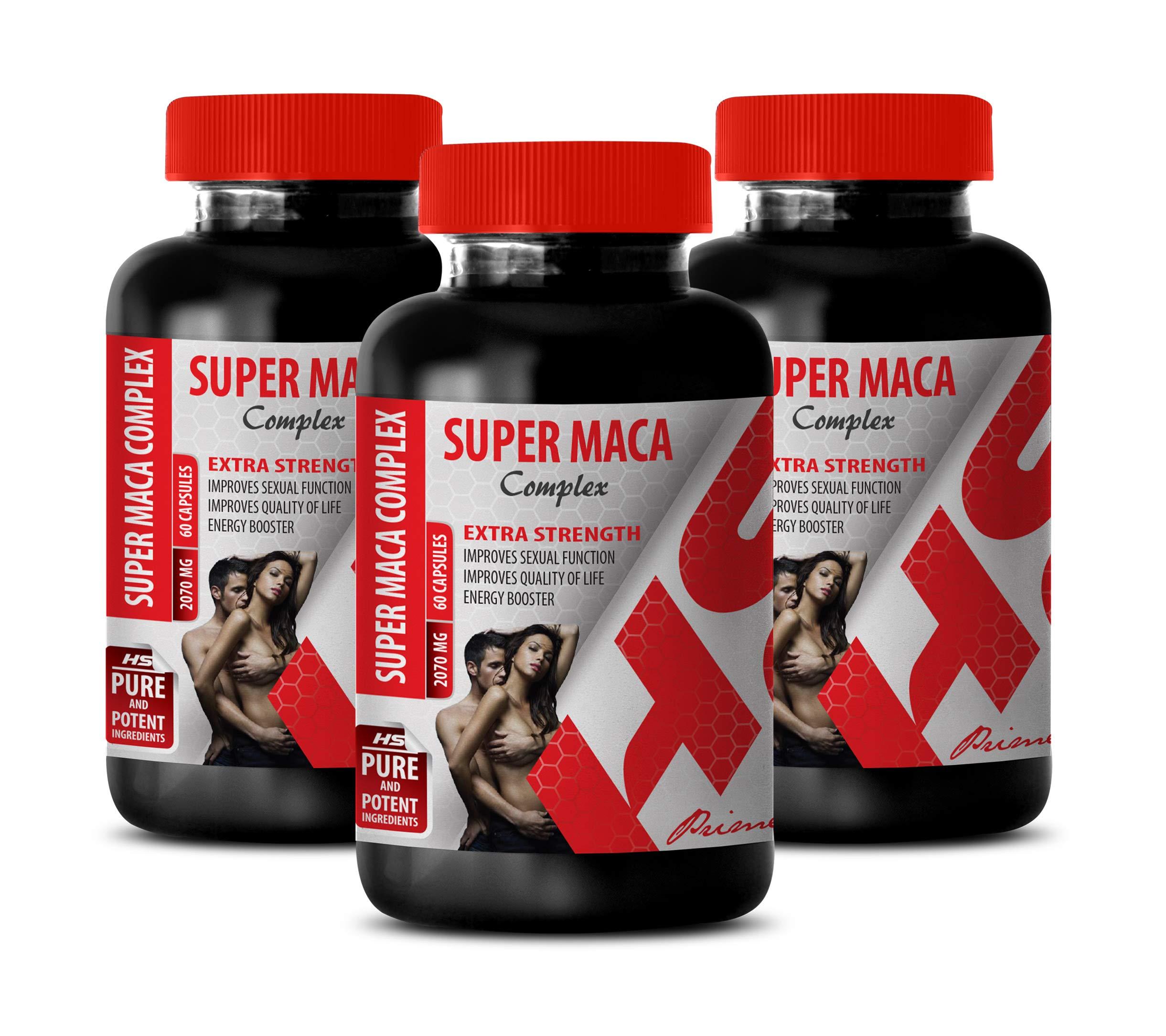 libido Supplements for Men - Super MACA Complex 2070 Mg - Extra Strength - l-arginine and yohimbine - 3 Bottles 180 Capsules