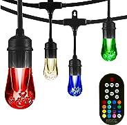 Enbrighten 37790, Black, Vintage Seasons LED Warm White & Color Changing Café String Lights, 48ft, 24 Premium Impact Resista