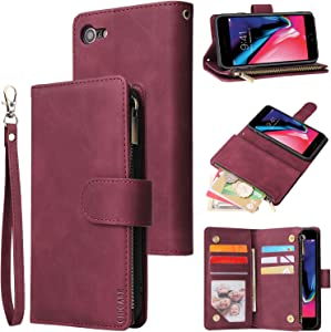 CHICASE Wallet Case for iPhone 6 Plus,iPhone 6s Plus Case,Leather Handbag Zipper Pocket Card Holder Slots Wrist Strap Flip Protective Phone Cover for Apple iPhone 6/6S Plus(Wine Red)